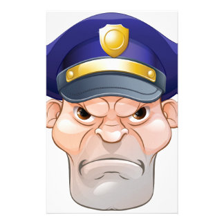 Mean Angry Cartoon Policeman Stationery