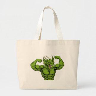 Mean Dragon Mascot Large Tote Bag