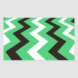 Mean Green and White Fast Lane Chevrons Rectangular Sticker