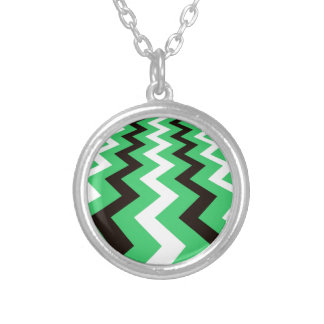 Mean Green and White Fast Lane Chevrons Round Pendant Necklace