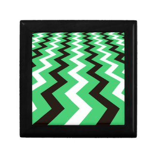 Mean Green and White Fast Lane Chevrons Small Square Gift Box