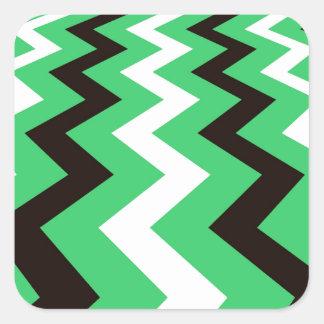 Mean Green and White Fast Lane Chevrons Square Sticker