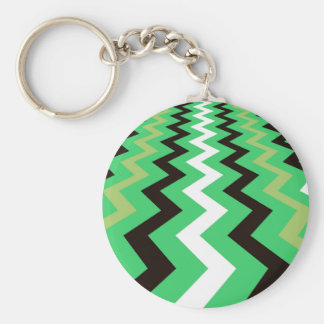 Mean Green Fast Lane Chevrons Basic Round Button Key Ring