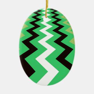 Mean Green Fast Lane Chevrons Ceramic Oval Decoration