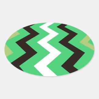 Mean Green Fast Lane Chevrons Oval Sticker