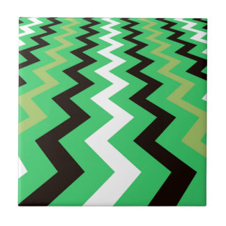 Mean Green Fast Lane Chevrons Small Square Tile