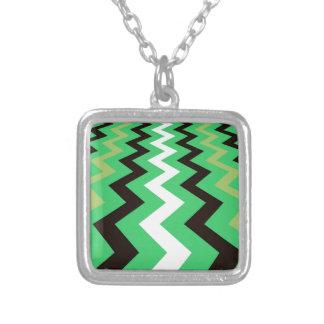Mean Green Fast Lane Chevrons Square Pendant Necklace
