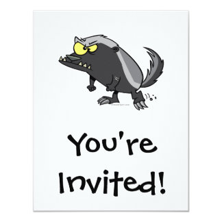 mean honey badger cartoon character 11 cm x 14 cm invitation card