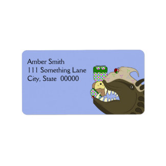 Mean Monster With Kawaii Person Address Label
