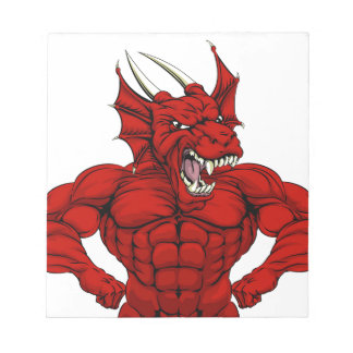 Mean Red Dragon Mascot Notepad