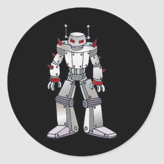 Mean Robot with Spikes Classic Round Sticker