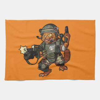 Mean Sci-fi Marine Ginger Cat Firing Gun Cartoon Tea Towel