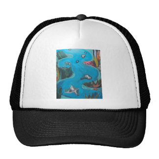 Meandering Mountain River -Expressionism landscape Mesh Hats