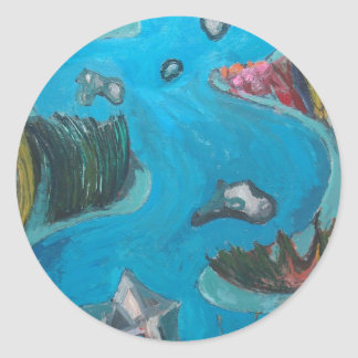Meandering Mountain River -Expressionism landscape Round Stickers
