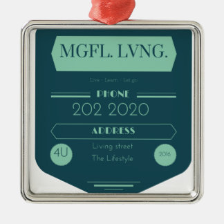 MeaningfulLiving chalkboard logo Silver-Colored Square Decoration