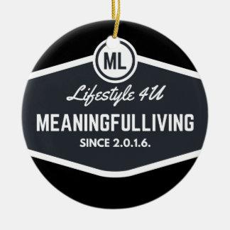 MeaningfulLiving sign logo Round Ceramic Decoration