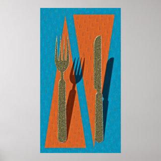 Measurer and fork poster
