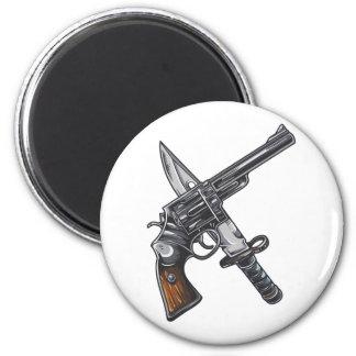 Measurer pistol knife gun 6 cm round magnet
