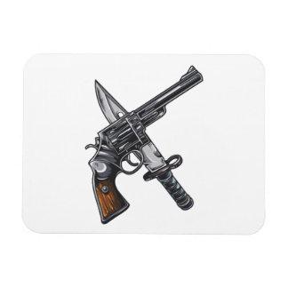 Measurer pistol knife gun rectangular photo magnet