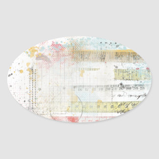 Measuring Tape Brushed Overlay Oval Stickers