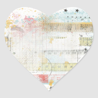 Measuring Tape Brushed Overlay Heart Stickers