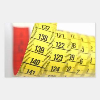 Measuring tape rectangular stickers
