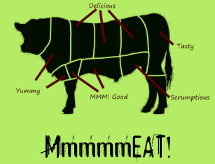meat eater! funny tasty beef cuts butcher chart t-shirt