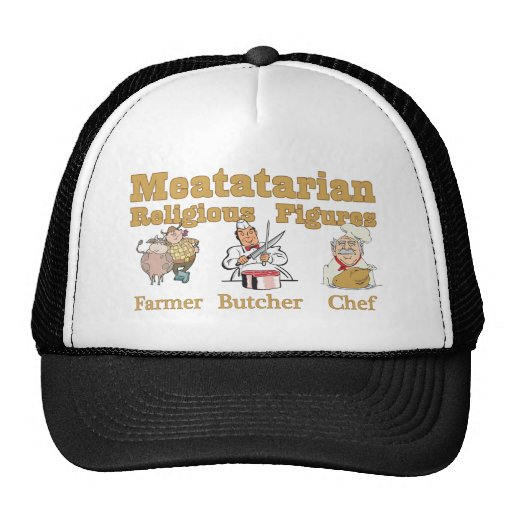Meatatarian Religious Figures Mesh Hats