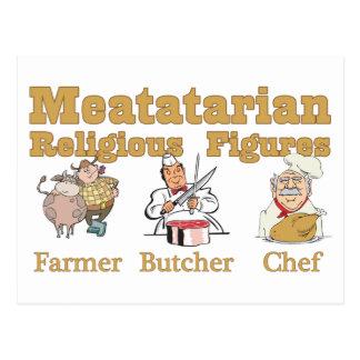 Meatatarian Religious Figures Postcard
