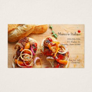 Meatball sandwiches with onions and peppers business card