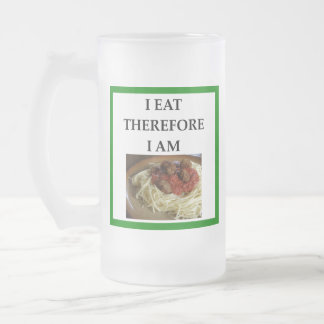 MEATBALLS FROSTED GLASS BEER MUG