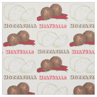 Meatballs Mozzarella Italian Food Cooking Foodie Fabric
