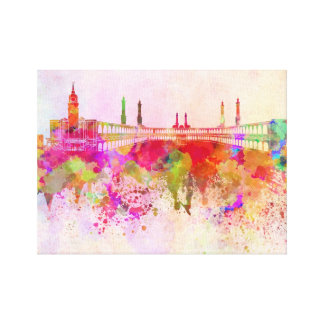 Mecca skyline in watercolor background gallery wrapped canvas