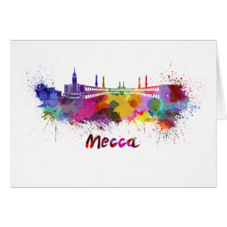 Mecca skyline in watercolor card