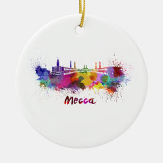 Mecca skyline in watercolor ceramic ornament