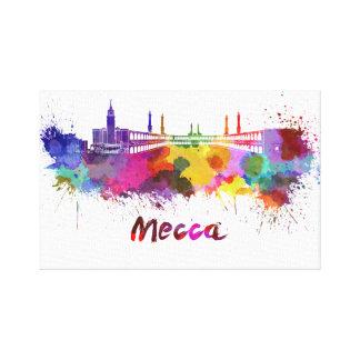 Mecca skyline in watercolor gallery wrap canvas