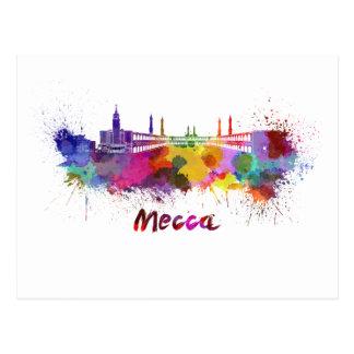 Mecca skyline in watercolor postcard