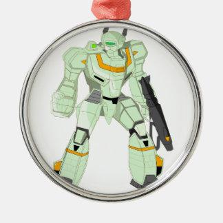 Mech Warrior Godzenant Silver-Colored Round Decoration