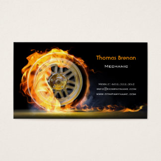 Mechanic Automotive Wheel Speed Flame Black Business Card