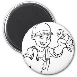 Mechanic or Plumber Handyman With Spanner Cartoon Magnet