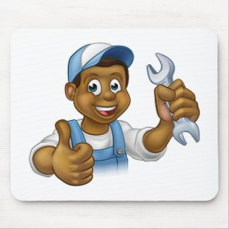 Mechanic or Plumber Handyman With Spanner Mouse Pad