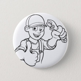 Mechanic or Plumber Handyman With Wrench Cartoon 6 Cm Round Badge