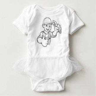Mechanic or Plumber Handyman With Wrench Cartoon Baby Bodysuit