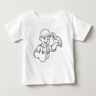 Mechanic or Plumber Handyman With Wrench Cartoon Baby T-Shirt