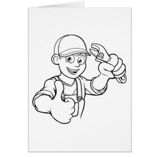 Mechanic or Plumber Handyman With Wrench Cartoon Card