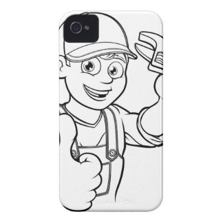 Mechanic or Plumber Handyman With Wrench Cartoon iPhone 4 Case-Mate Cases