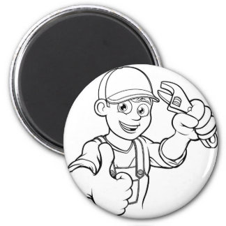 Mechanic or Plumber Handyman With Wrench Cartoon Magnet