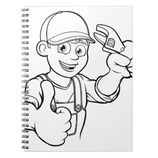 Mechanic or Plumber Handyman With Wrench Cartoon Notebook