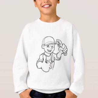 Mechanic or Plumber Handyman With Wrench Cartoon Sweatshirt