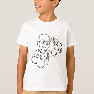 Mechanic or Plumber Handyman With Wrench Cartoon T-Shirt